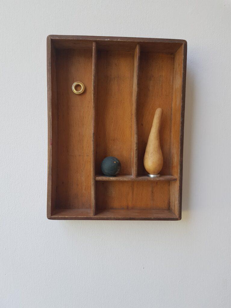 Ohne Titel, 2019 • wood, metal, rubber, pumpkin, 33.5 x 25.5 x 5 cm