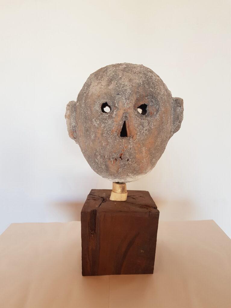 Untitled, 2020 • clay fired in wood kiln, bone, wood, metal, 45 x 30 x 20 cm