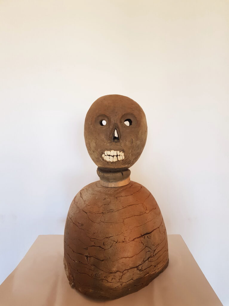Untitled, 2021 • clay fired in wood kiln, wood, h = 60,  Ø 36 cm