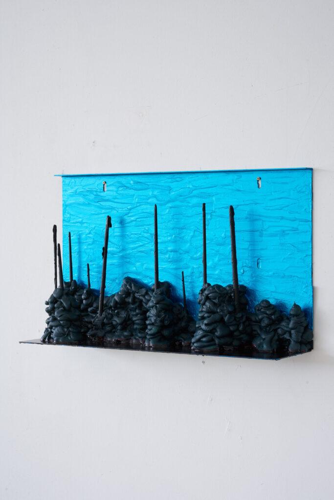 D-20.2 (Insel), 2020 • acrylic, aluminium sheet, wood, 63 x 36 x 15 cm