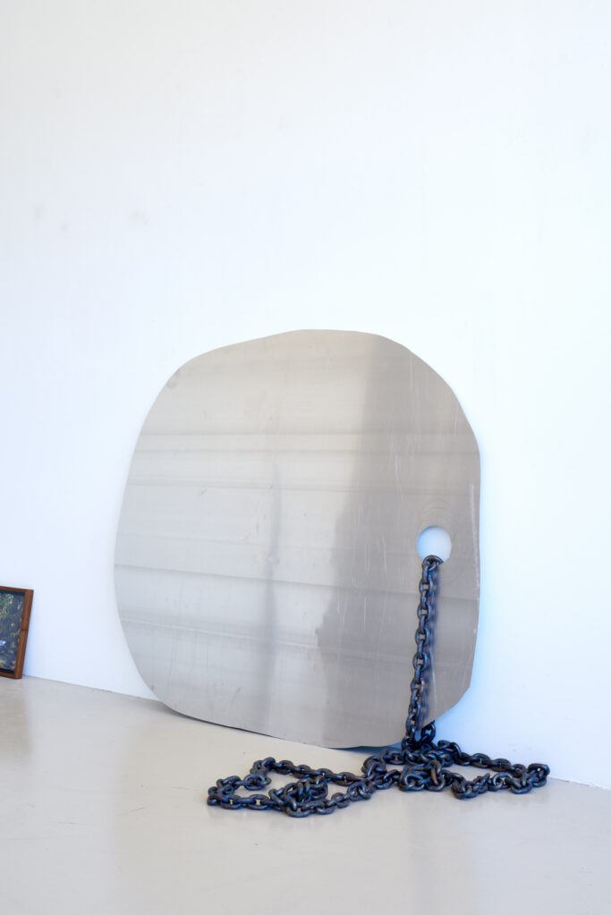 K-20.1 (Kette), 2020 • aluminium sheet , steel chain, 130 x 165 x 70 cm