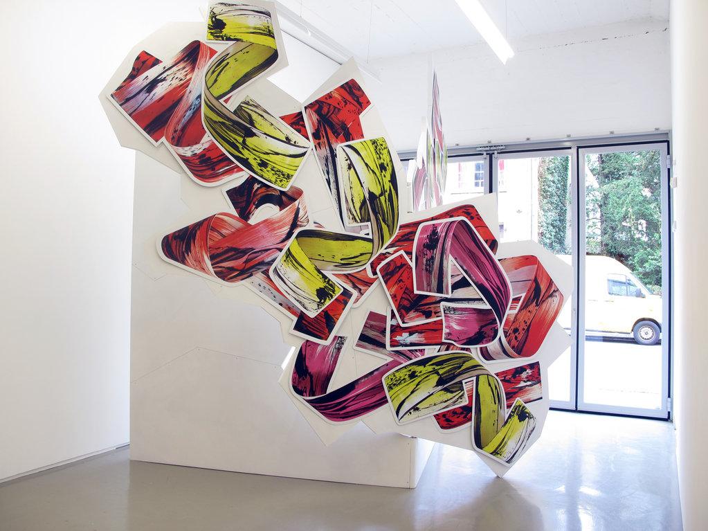 Judy Millar, Advancing All Electric, 2016 • acrylic, MDF, digital printing, aluminium, ca. 400 x 300 x 300 cm