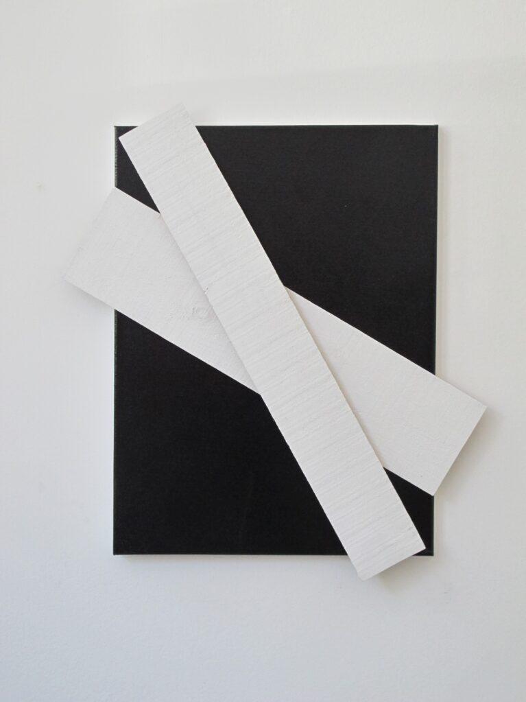 Untitled (Black + White), 2013 • enamel on timber, 66 × 59.6 × 4.3 cm