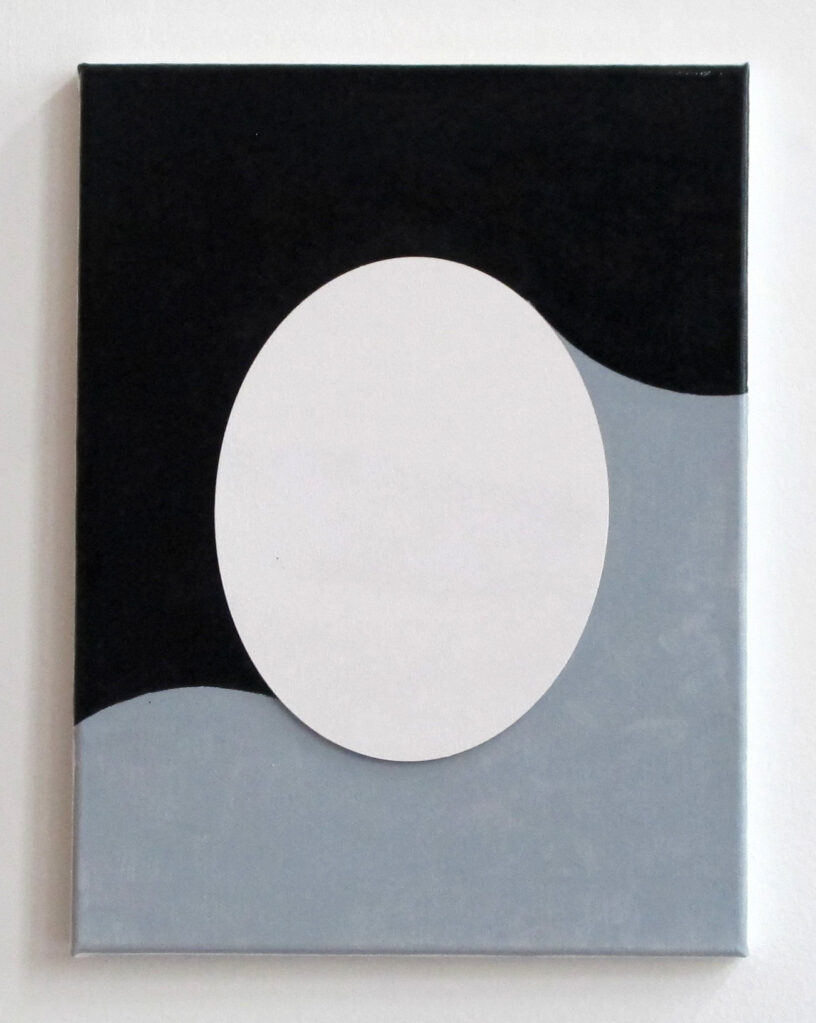 Untitled (Black an Grey Portrait), 2015 • enamel on MDF and canvas, 45 × 35 cm