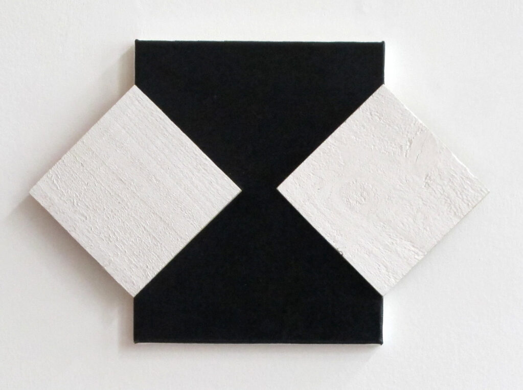 Black and White Diamonds, 2013 • enamel plaster wood on canvas, 30 x 45 cm