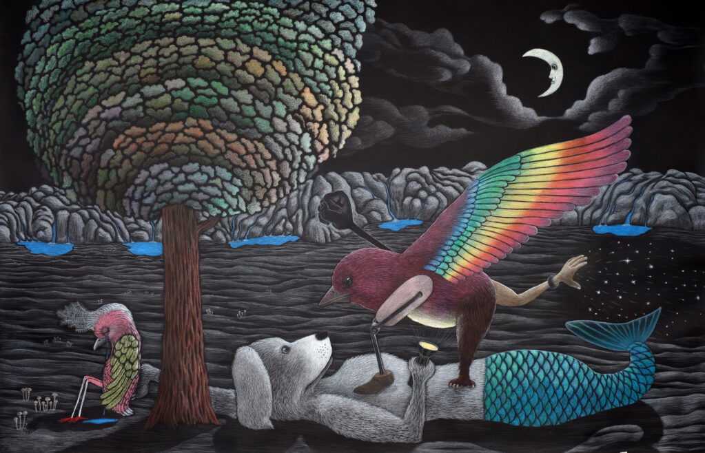 Politics in Fairytales, 2021 • colored pencil  and oilpen on paper, 130 x 195 cm