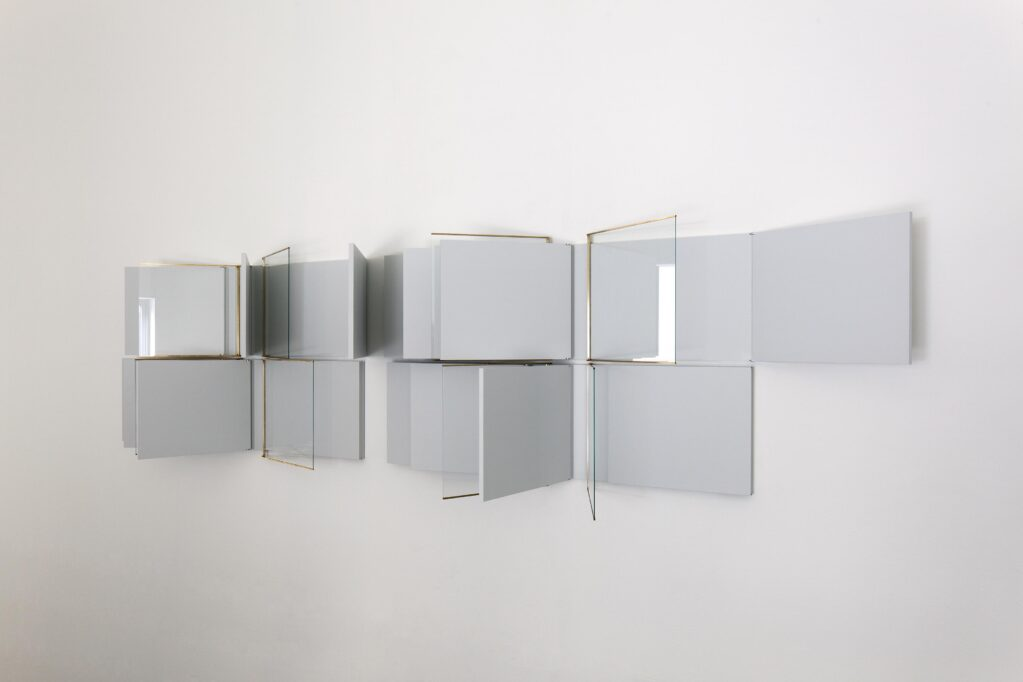 Blackened, 2020 • acrylic lacquer on fiberboard, aluminum joints, glass, brass frame, each 110.4 x 226.3 x 4.4 cm