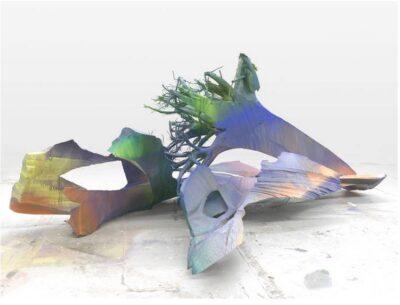 Katharina Grosse, Untitled, 2015, Acrylic on aluminum and wood