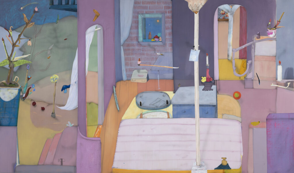 When trouble sleeps, 2020 • acrylic and oil crayon on canvas, 200 X 340 cm