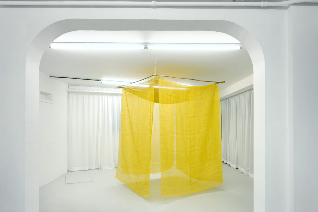 Net Room 2016 • marigold dye, nastary silk, bamboo, tree bark rope, 190 x 150 x 150 cm