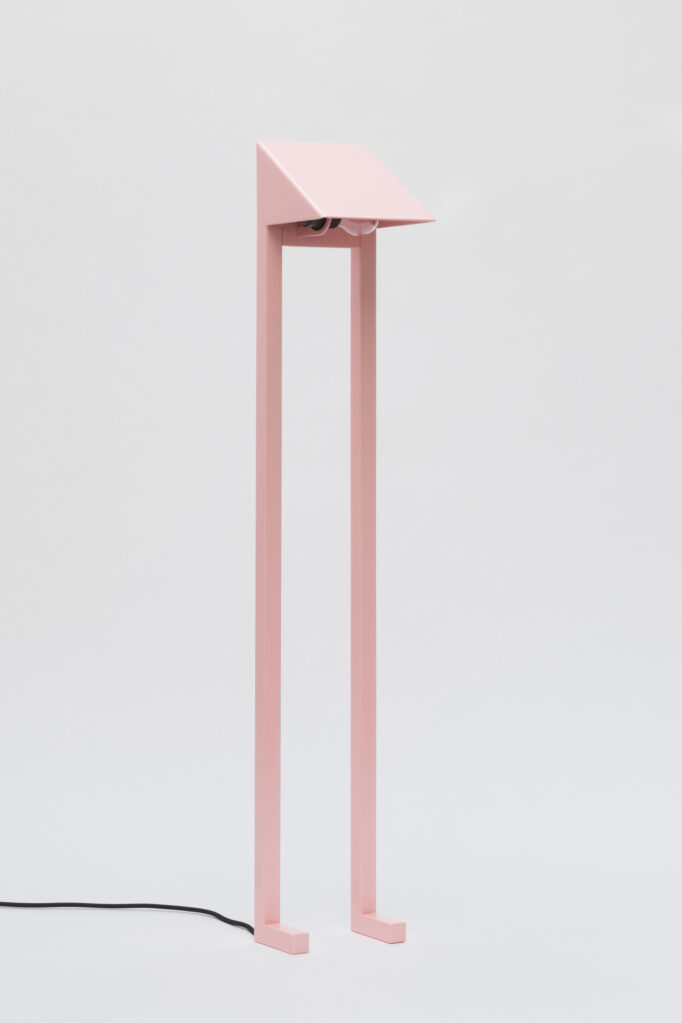 Lamp FLAMINGO, 2020 • Steel powder-coated pink with E27 socket and cable, 101 x 16,5 x 16,5 cm