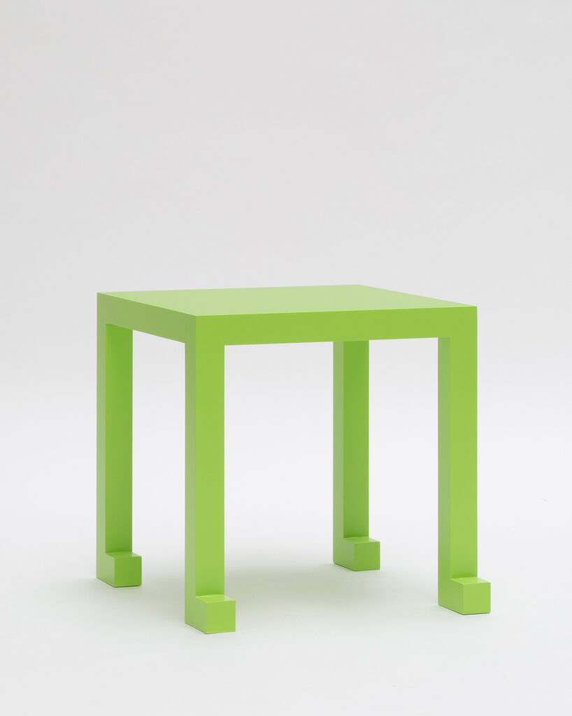 Table Q1, 2020 • solid MDF green paintned, 40 x 40 x 40 cm