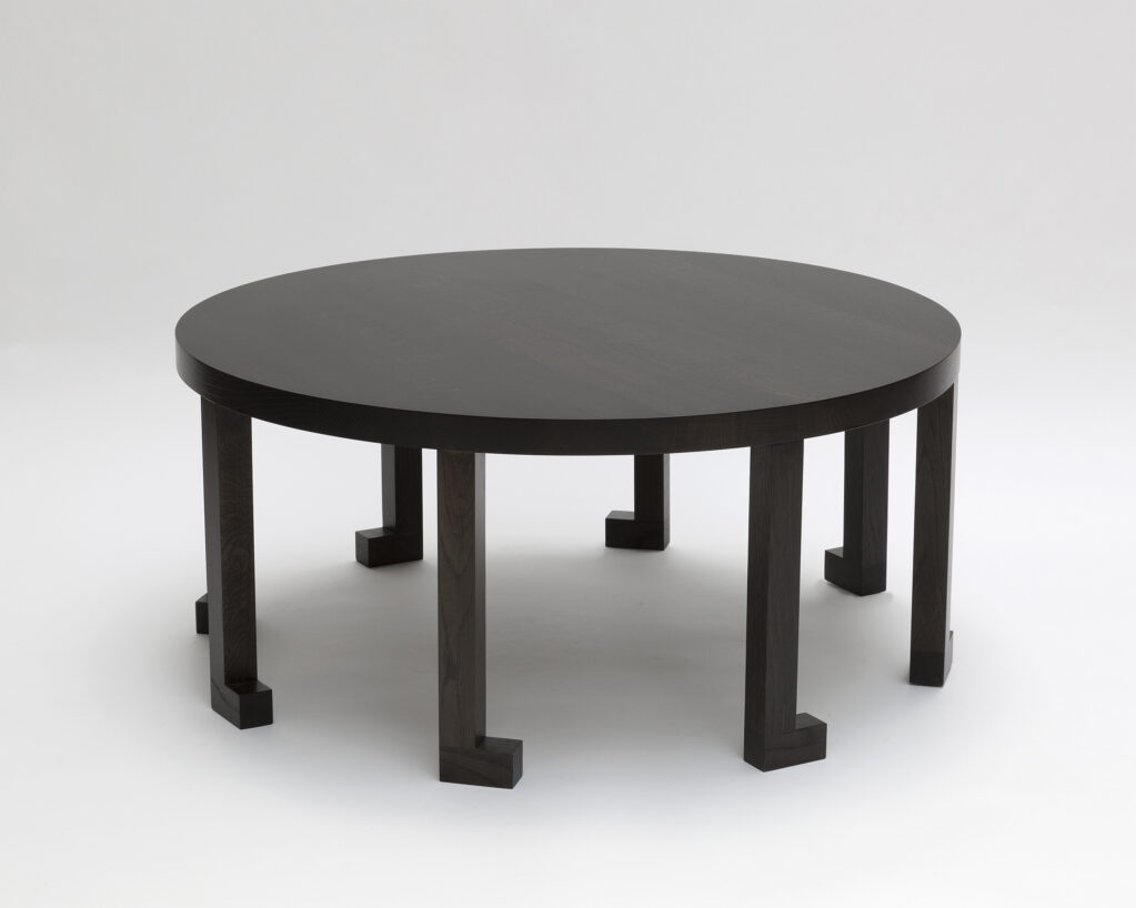 Table R1, 2020 • solid oak stained and varnished dark, h 40, Ø 90 cm