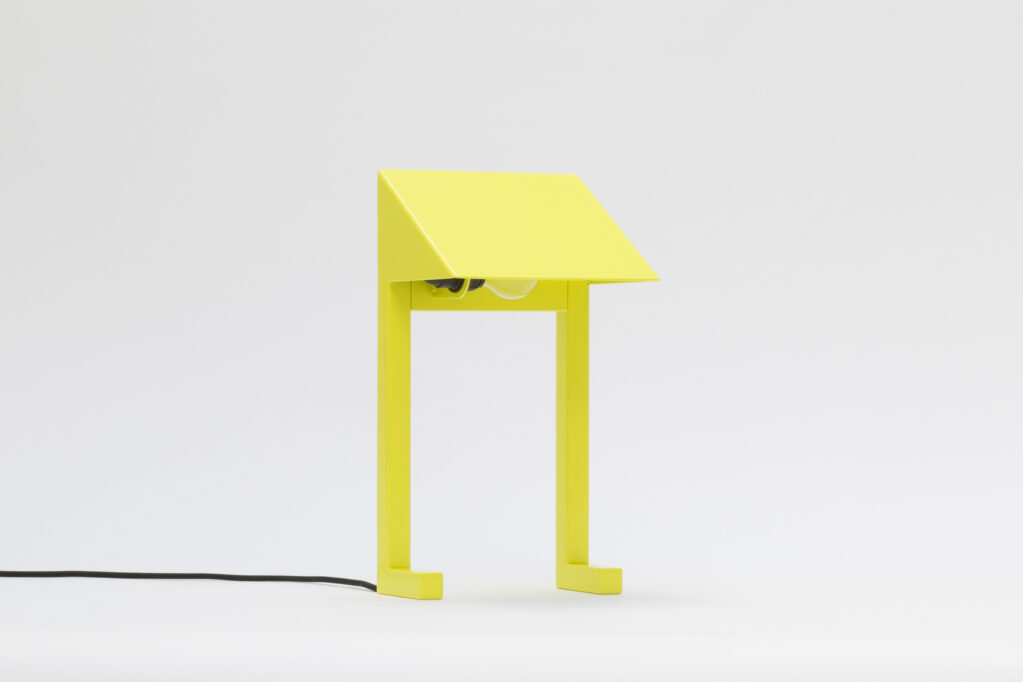 Lamp UHU, 2020 • Steel powder-coated yellow with E27 socket and cable, 40,5 x 22 x 16,5 cm