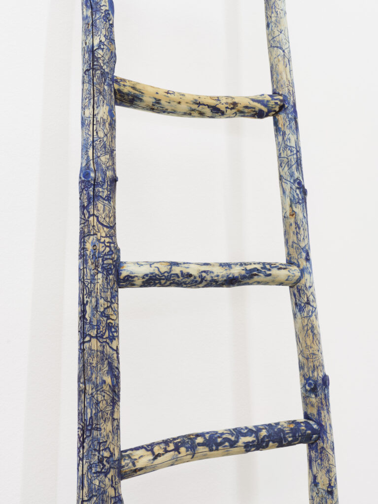 Bosco, 2020 • larch wood (Bleniotal), blue water stain, low odor hand wax AB31, 293 x 54 x 6 cm