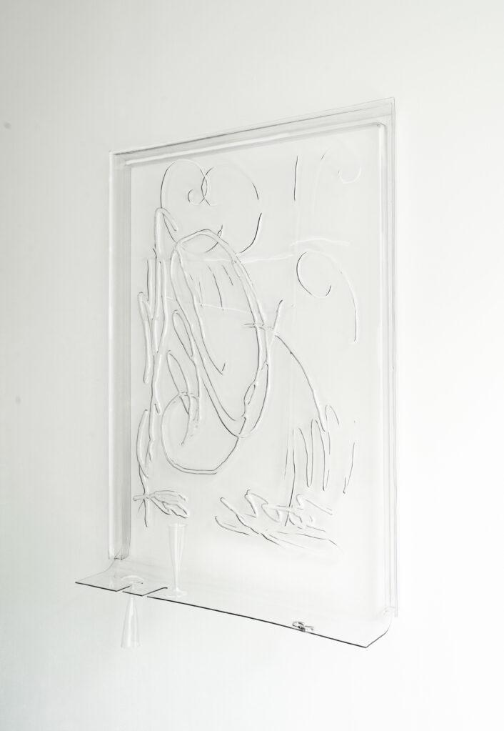 Sprezzatura no. 5, 2020 • 2 champagne glasses, 'U' keychain , Pet-G, 124 x 91 x 20 cm